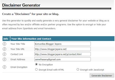 Cara Membuat Disclaimer Untuk Blog Adsense