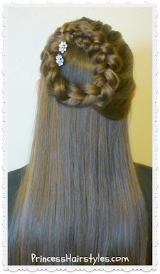 Side halo braid or wreath braid half up hairstyle