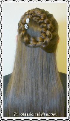 Side halo braid or wreath braid half up hairstyle