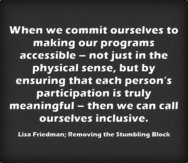 When we commit ourselves, we can be inclusive; Removing the Stumbling Block