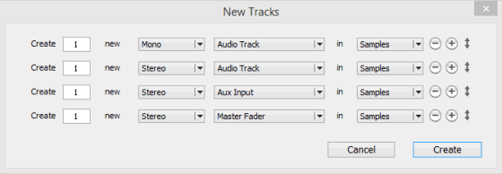 Pro Tools New Tracks Dialog Showing Multiple Track Types