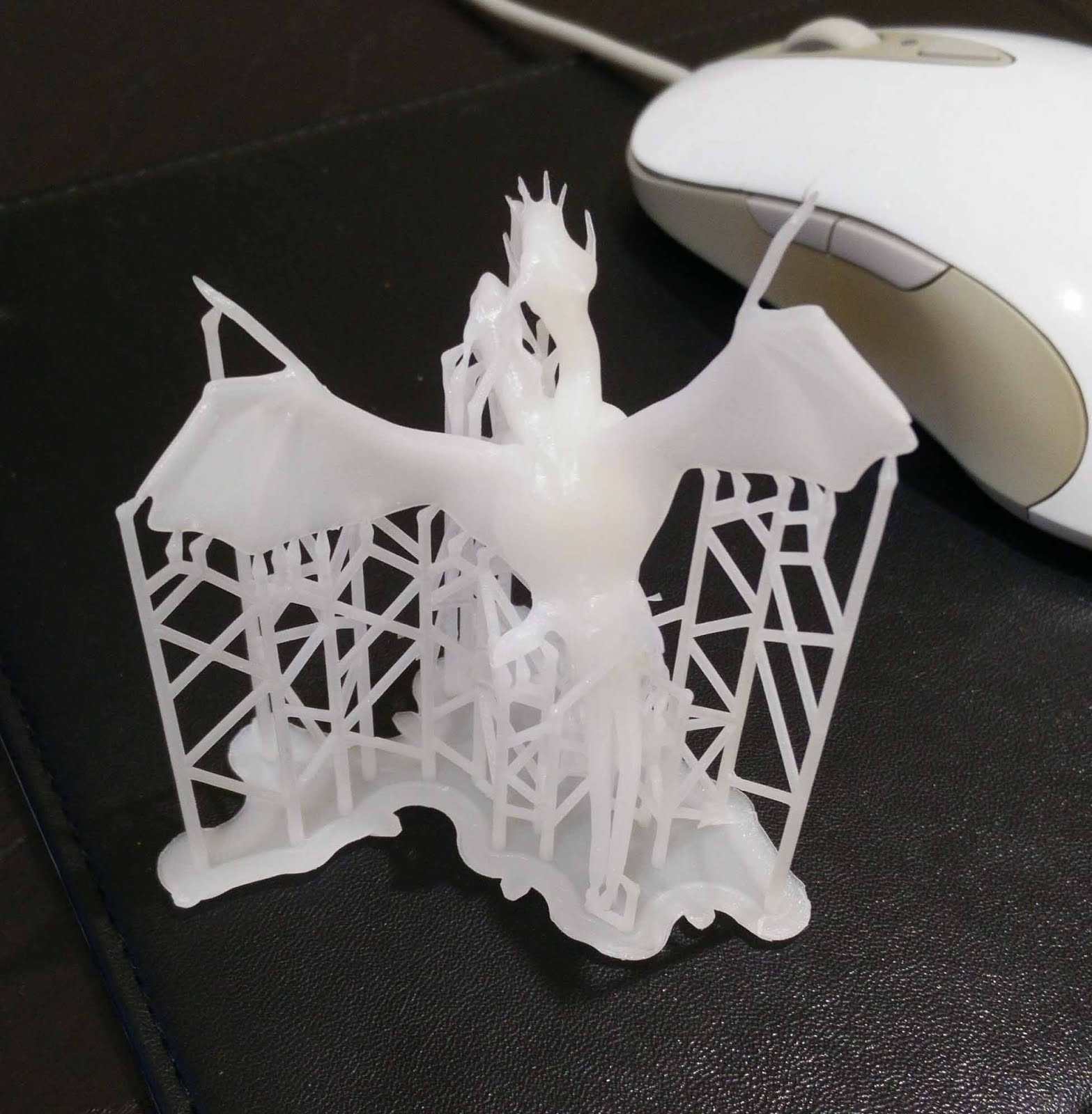 Jakiro 3D printed, immersed in scaffolding