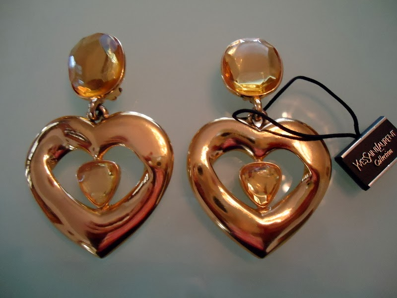 97071faf51f Vintage 80's signed YSL huge heart earrings approx 3 1/4