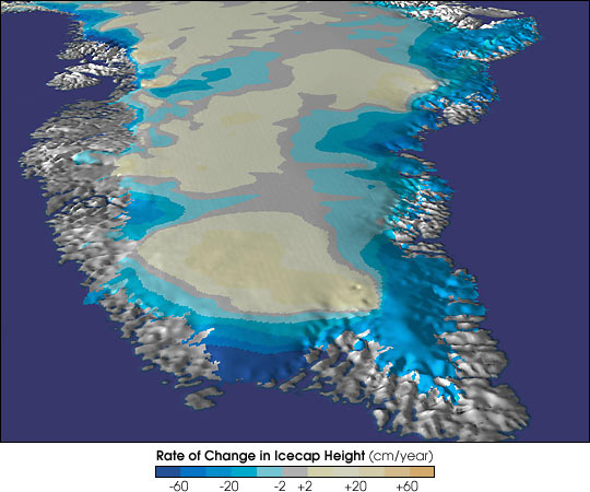 Map of Greenland's rate of change in Ice Sheet Height