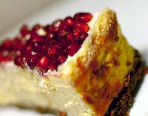 Cheesecake Topped with Pomegranate