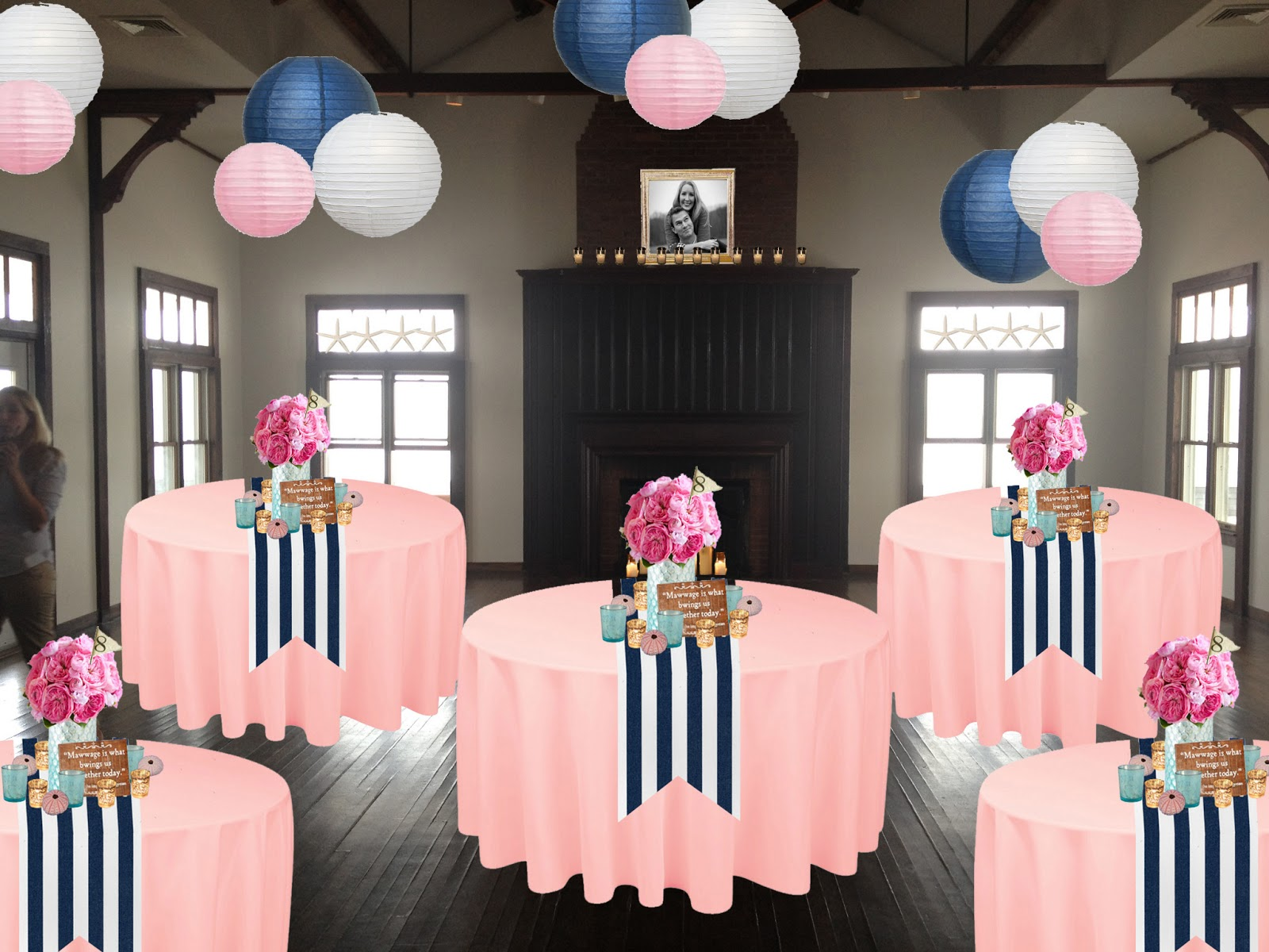 Pink Striped Table Runner Wedding Ideas