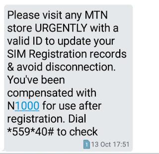 MTN Nigeria subcribers SIM registration update