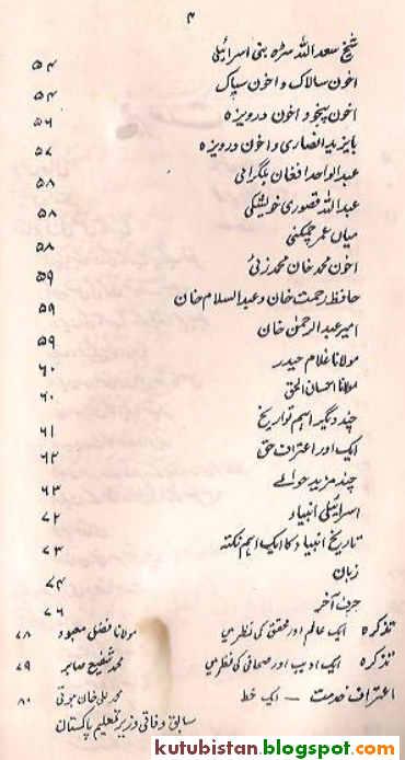 Contents of Afghanon Ki Nasli Tareekh Urdu Book\