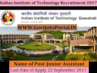 Indian Institute of Technology Recruitment 2017– 20 Junior Assistant