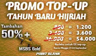 Promo Top Up PB Garena Hadiah Cash PB dan Senjata Gratis 50% Tahun Baru Hijriah