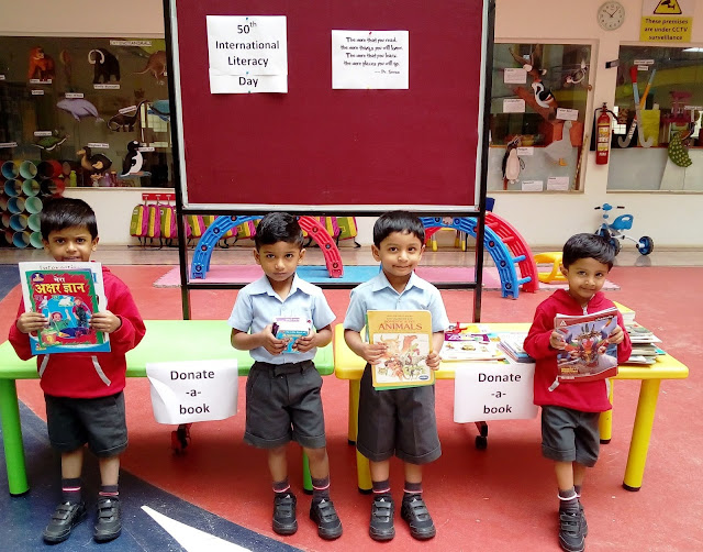 """Donate- a- book"" Trio tots celebrated International Literacy Day by gifting books to underprivileged students"