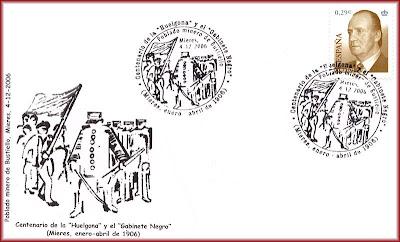 Sobre con matasellos Centenario de la Huelgona, Grucomi, Bustiello 2003