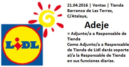 Lanzadera de Empleo Virtual Adeje, Oferta Lidl, Tenerife