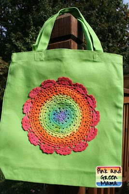 Pink And Green Mama Painted Rainbow Doily Bag Tutorial