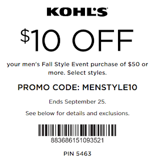 Kohls coupon $10 off $50 men's item purchase 2016