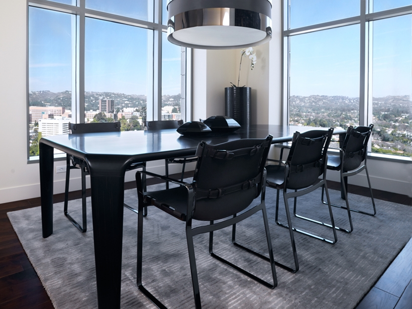 Modern black dining room table and chairs
