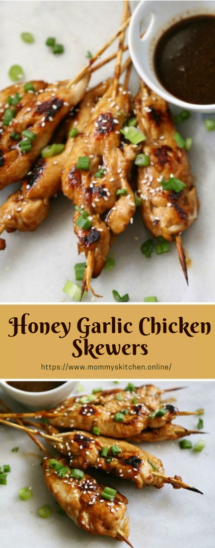 Honey Garlic Chicken Skewers #honeychicken #dinnner