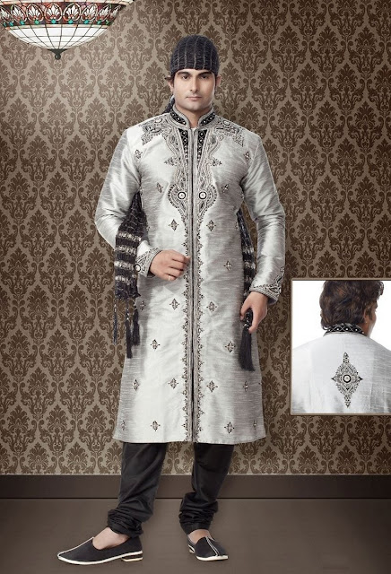 Black Art Silk Party Wear Kurta Pajama With Stone Work