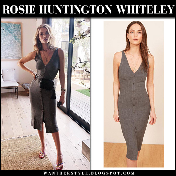 Rosie Huntington-Whiteley in grey button midi dress reformation nancy spring model style april 12