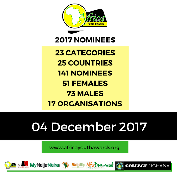 Shortlisted Nominees Announced For 2017 Africa Youth Awards