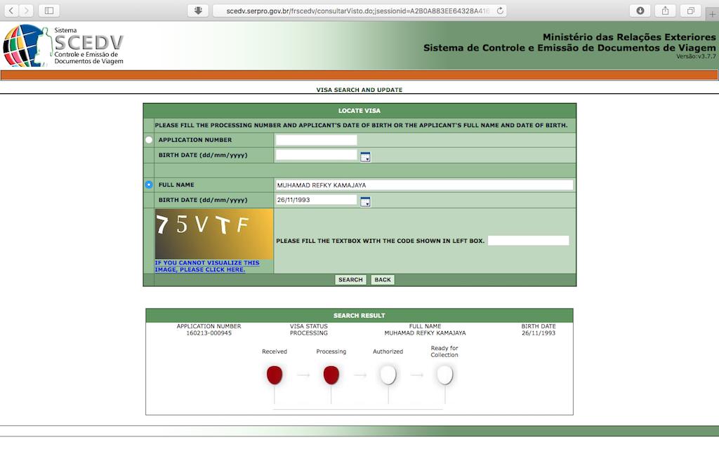 Pengalaman Mengurus Visa Brazil di Jakarta - Status Visa Processing