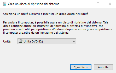 Windows 10, Crea un disco di ripristino del sistema