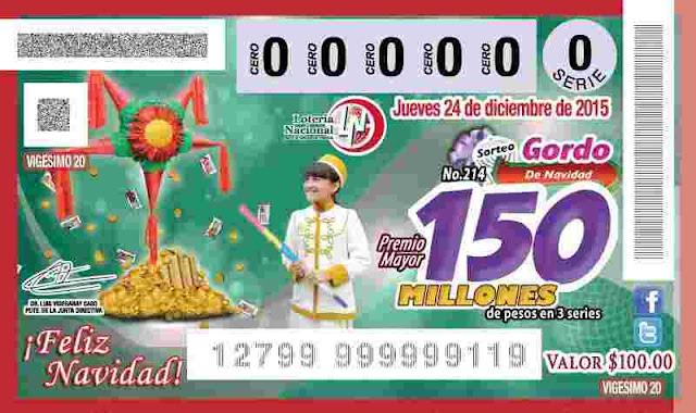 Billete Loteria de Mexico Gordo de Navidad