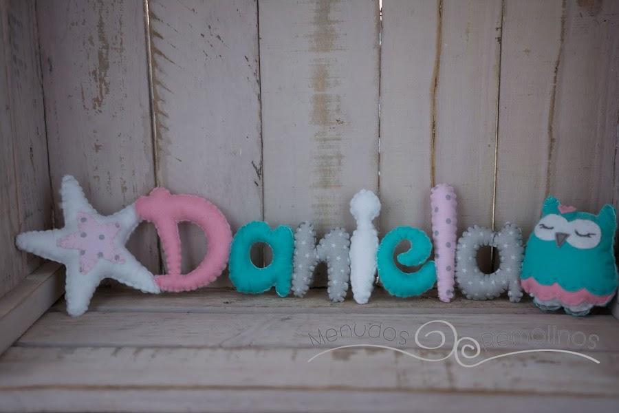Nombre estrella y búha (mint y rosa) - Daniela