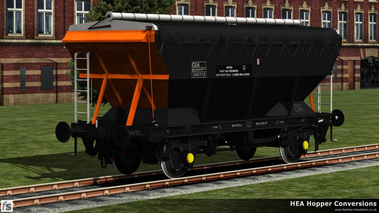 Fastline Simulation - HEA Conversions: The Loadhaul liveried CEA has made it's way back into the paintshop and after application of lettering, poses for the official photographer.