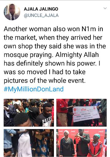 70 years-old woman wins N1min the Coca-Cola NG #MyMillionDonLand.