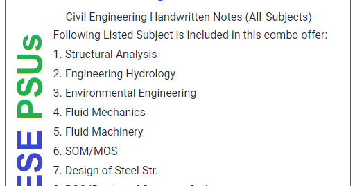 Civil Engineering Hand Written Notes For GATE, ESE, PSUs - Engineers