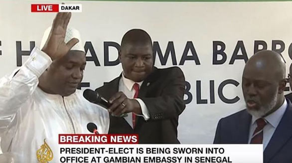 Adama Barrow sworn in as Gambian president