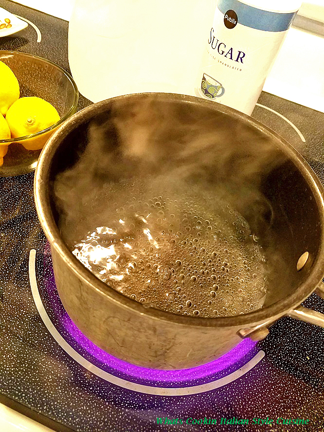 making a simple syrup on top of the stove to make an Italian Lemon ice