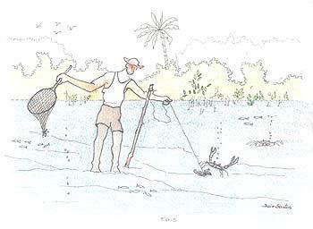 Pesca com puçá. Autor: Jair Santos, 2004.