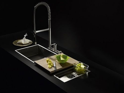 exclusive sink and cabinets in ultramodern kitchen | Luxurious Black Minimalist Kitchen Sink - Water Zone from ...