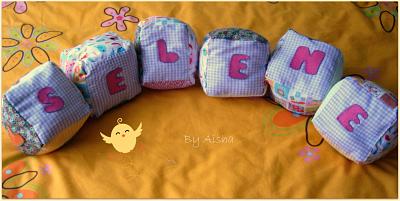 cubos de tela para bebes personalizados hechos a mano