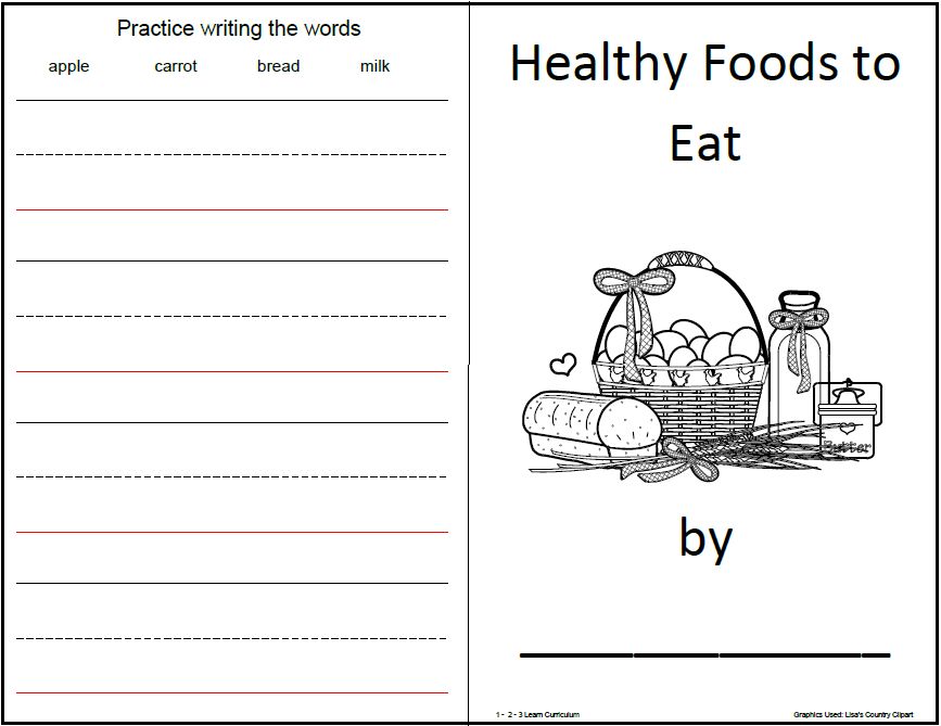 Healthy food worksheets for preschoolers
