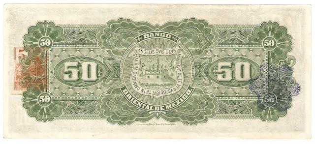 Billetes Mexicanos 50 Pesos Banco Oriental de Mexico