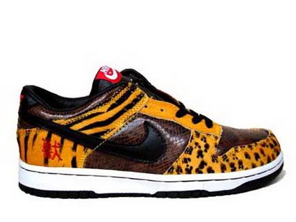 6c66b53c7760 Tiger Striped Print Nike Dunks Low Hunting Shoes