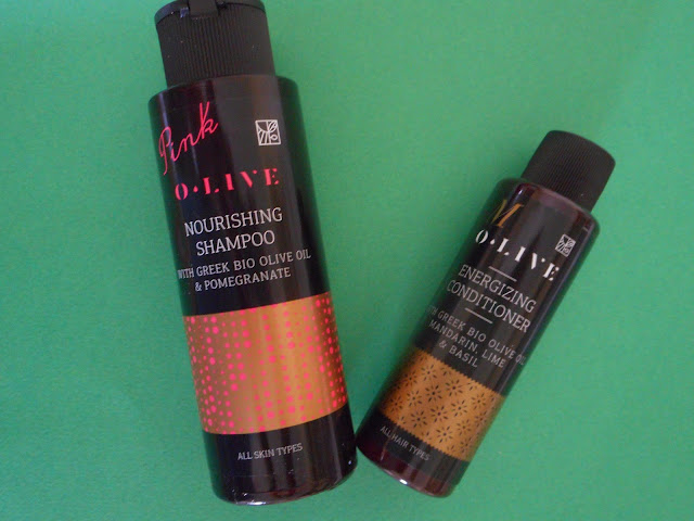 O.live nourishing shampoo with Pomegranate and O.live energizing conditioner iwth Mandarin, lime & Basil