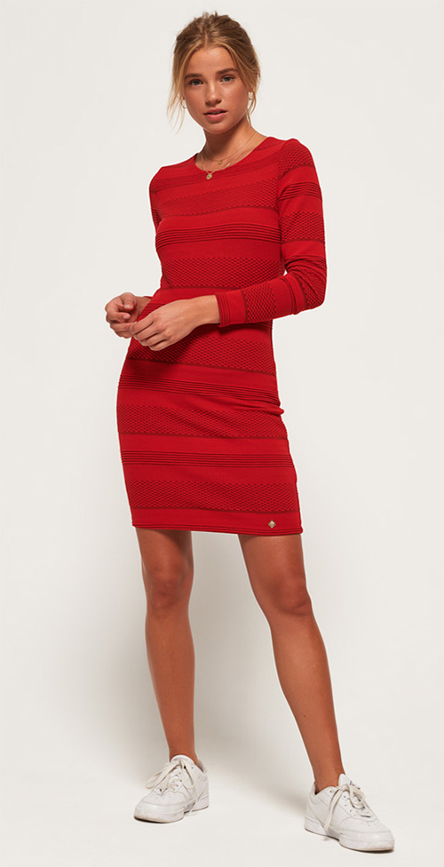 Robe courte moulante rouge Superdry