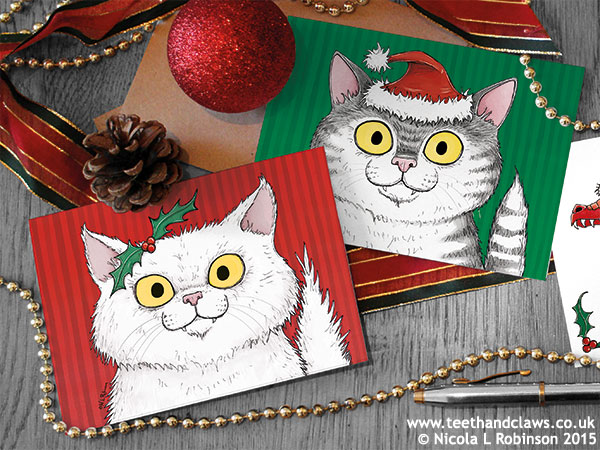 Cat Christmas Cards © Nicola L Robinson 2015 www.teethandclaws.co.uk