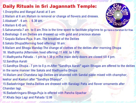 daily ritual timing in Jagannath temple,puri