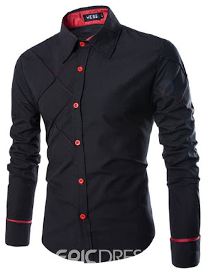 Ericdress Solid Color Plaid Line Design Long Sleeve Men's Shirt