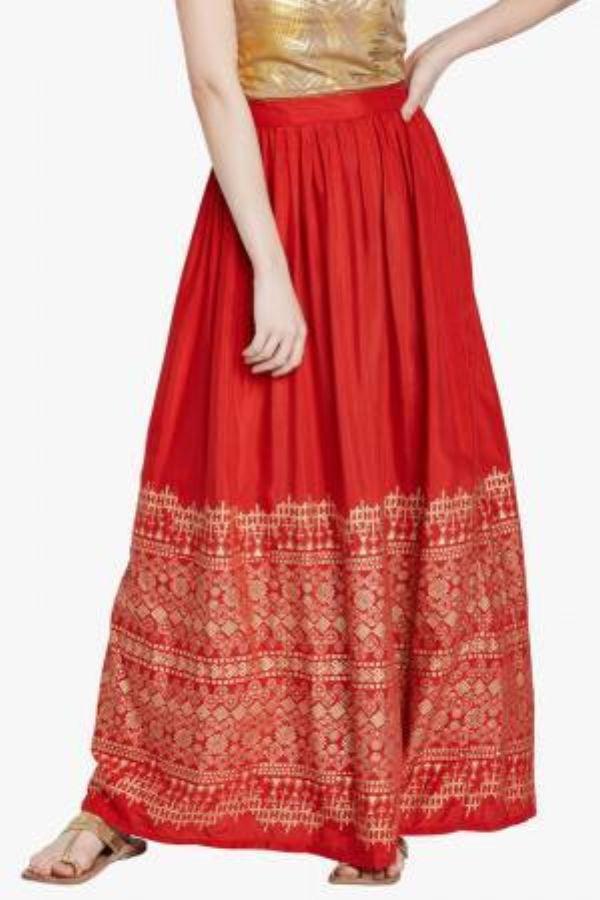 Red Floral Printed Skirt