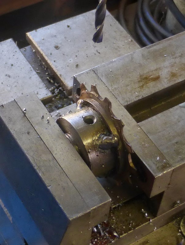 drilling set screw hole in sprocket hub