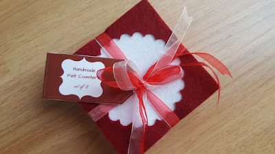 Handmade felt coasters + free printable gift tags