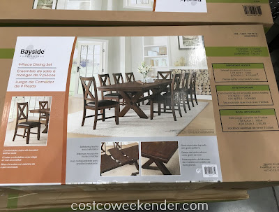 Costco 1074776 - Bayside Furnishings 9-piece Dining Set: great for large gatherings and family dinners