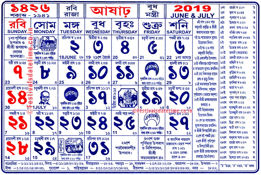 1426 Aashar Month Bengali Calendar, 1426 Aashar Panji Calendar
