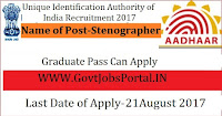 Unique Identification Authority of India Recruitment 2017-Stenographer